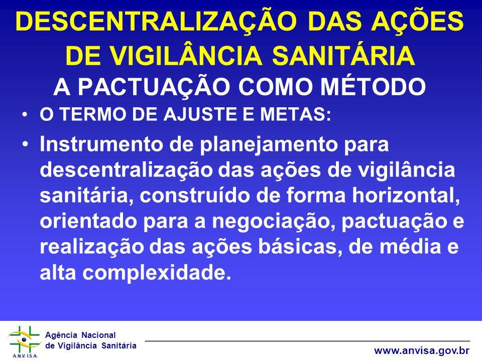 Agência Nacional de Vigilância Sanitária www.anvisa.gov.br DESCENTRALIZAÇÃO DAS AÇÕES DE VIGILÂNCIA SANITÁRIA A PACTUAÇÃO COMO MÉTODO O TERMO DE AJUST