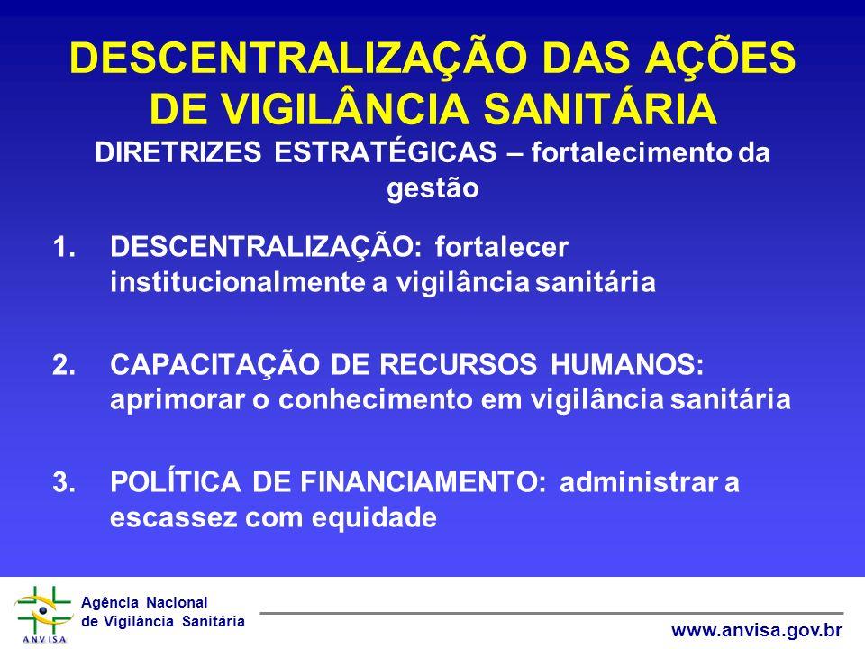 Agência Nacional de Vigilância Sanitária www.anvisa.gov.br DESCENTRALIZAÇÃO DAS AÇÕES DE VIGILÂNCIA SANITÁRIA DIRETRIZES ESTRATÉGICAS – fortalecimento