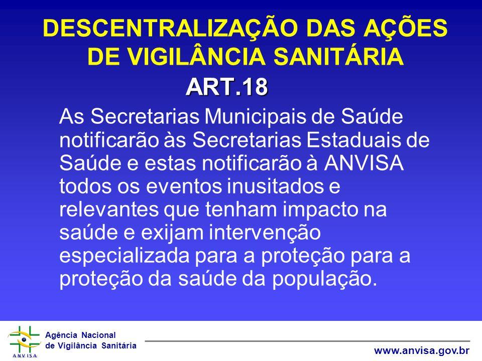 Agência Nacional de Vigilância Sanitária www.anvisa.gov.br DESCENTRALIZAÇÃO DAS AÇÕES DE VIGILÂNCIA SANITÁRIA ART.18 As Secretarias Municipais de Saúd