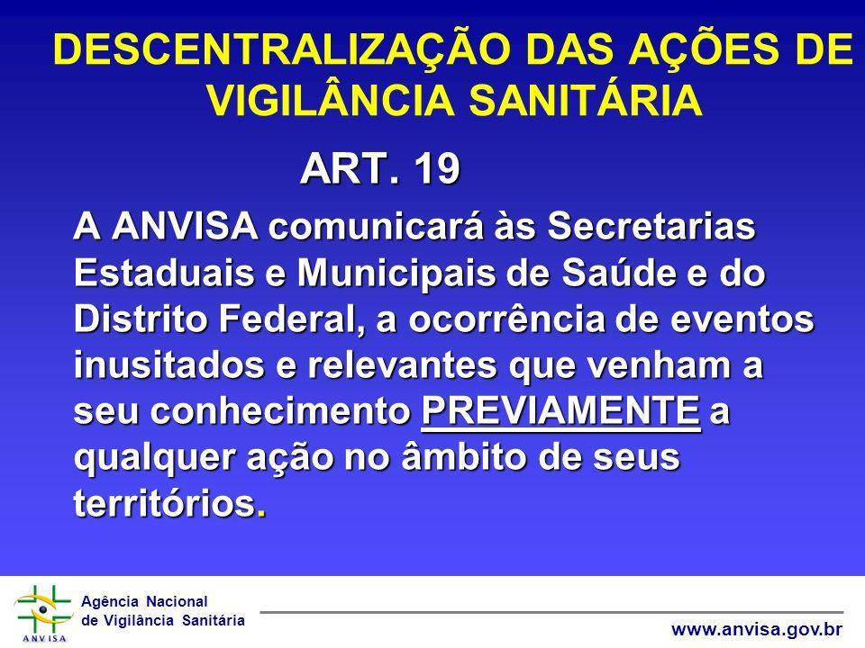 Agência Nacional de Vigilância Sanitária www.anvisa.gov.br DESCENTRALIZAÇÃO DAS AÇÕES DE VIGILÂNCIA SANITÁRIA ART. 19 A ANVISA comunicará às Secretari