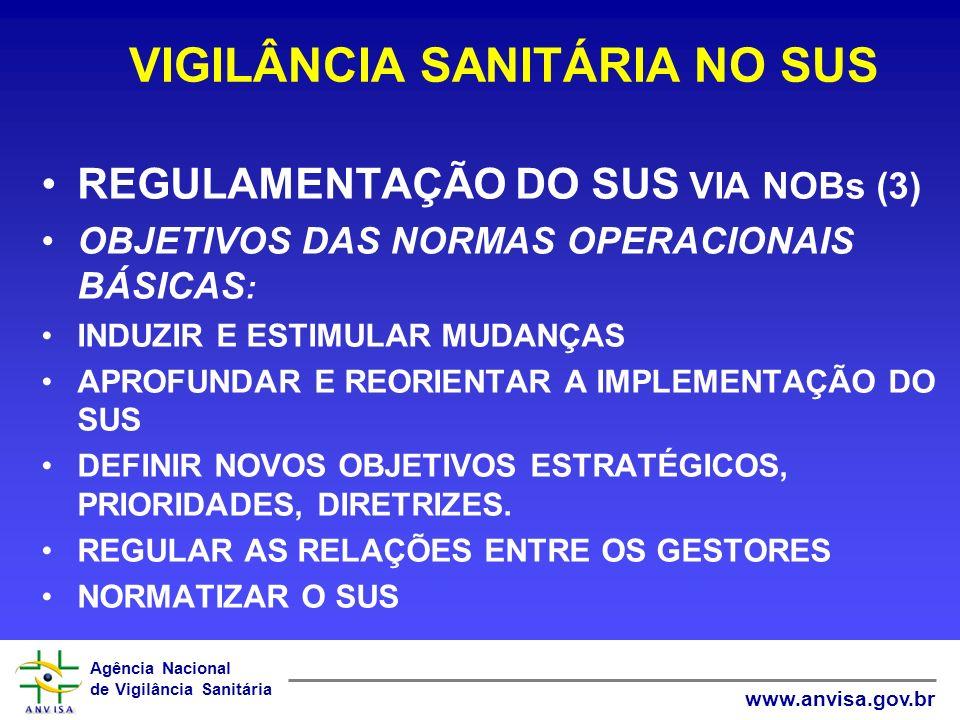 Agência Nacional de Vigilância Sanitária www.anvisa.gov.br DESCENTRALIZAÇÃO DAS AÇÕES DE VIGILÂNCIA SANITÁRIA OBJETIVO GERAL FOMENTAR A ESTRUTURAÇÃO, O DESENVOLVIMENTO E A CONSOLIDAÇÃO DO SUB-SISTEMA DE VIGILÂNCIA SANITÁRIA NO ÂMBITO DO SUS; COMPROMISSOS ORGANIZACIONAIS; ÊNFASE NOS RESULTADOS; FINANCIAMENTO COMO INSTRUMENTO DE INDUÇÃO.