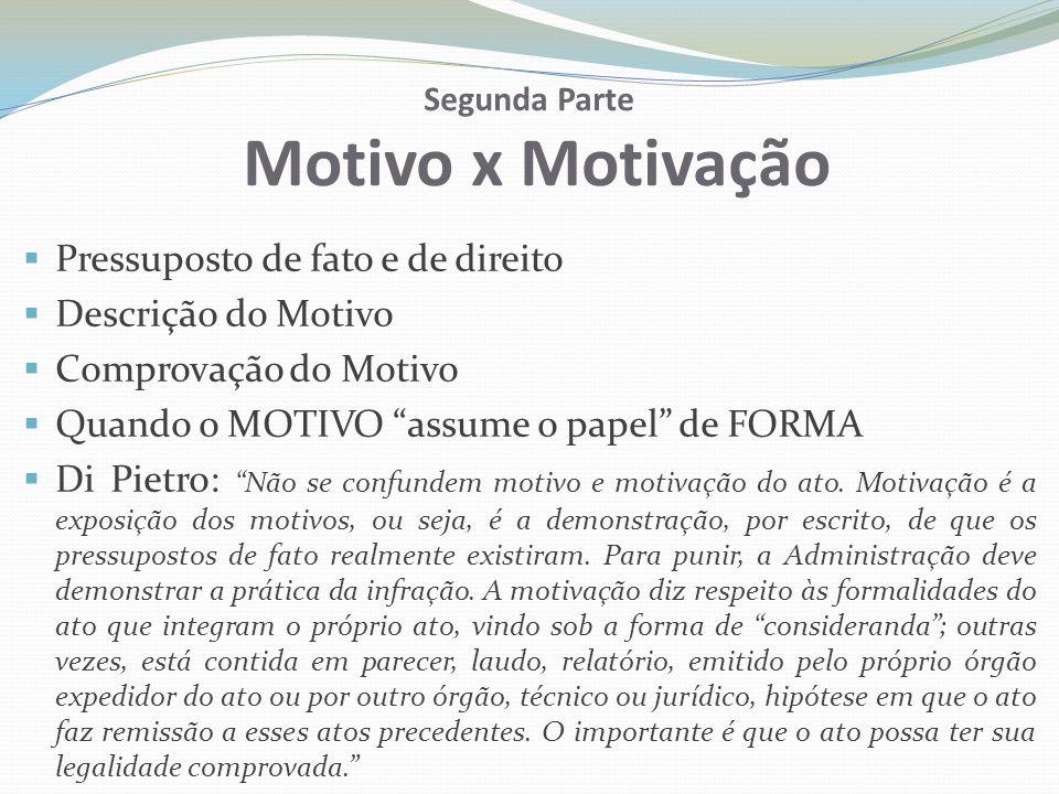 Motivação x Motivo MOTIVAÇÃO FORMALIDADE VIOLAÇÃO AO CONTRADITÓRIO VÍCIO FORMAL MOTIVO SUBSTÂNCIA DO ATO LEGALIDADE VÍCIO MATERIAL