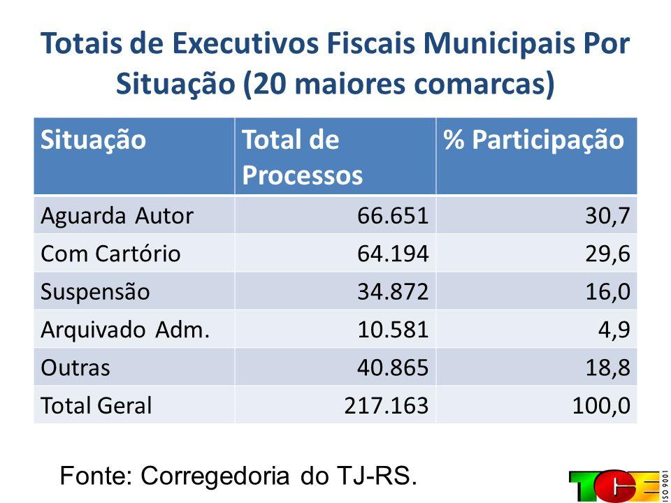 Totais de Executivos Fiscais Municipais Por Situação (20 maiores comarcas) SituaçãoTotal de Processos % Participação Aguarda Autor66.65130,7 Com Cartó