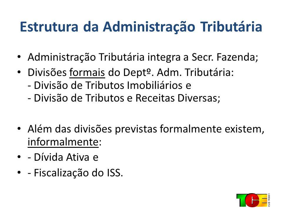 Estrutura da Administração Tributária Administração Tributária integra a Secr. Fazenda; Divisões formais do Deptº. Adm. Tributária: - Divisão de Tribu
