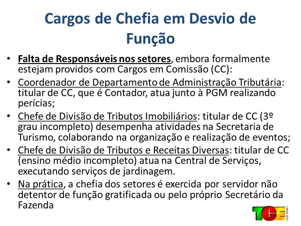 Cargos de Chefia em Desvio de Função Falta de Responsáveis nos setores, embora formalmente estejam providos com Cargos em Comissão (CC): Coordenador d
