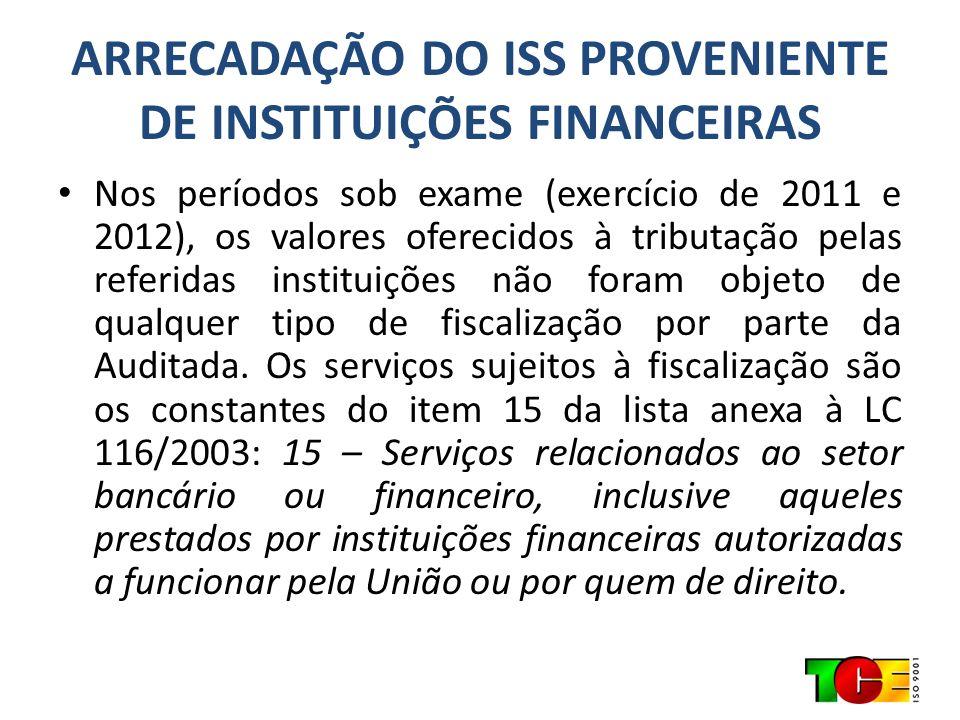 ARRECADAÇÃO DO ISS PROVENIENTE DE INSTITUIÇÕES FINANCEIRAS Nos períodos sob exame (exercício de 2011 e 2012), os valores oferecidos à tributação pelas