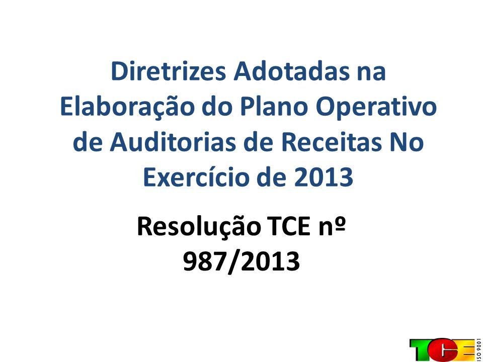 Diretrizes Adotadas na Elaboração do Plano Operativo de Auditorias de Receitas No Exercício de 2013 Resolução TCE nº 987/2013
