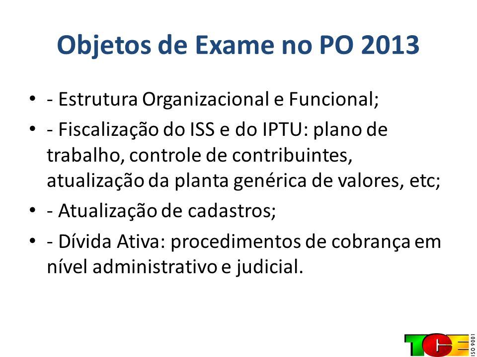 Objetos de Exame no PO 2013 - Estrutura Organizacional e Funcional; - Fiscalização do ISS e do IPTU: plano de trabalho, controle de contribuintes, atu