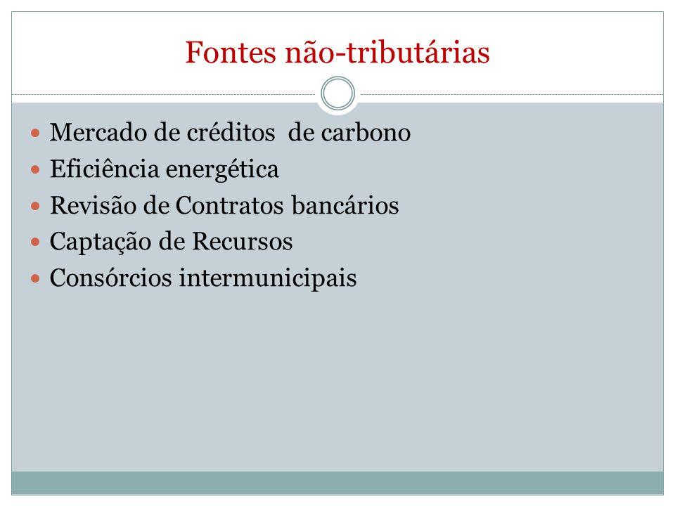 Fontes não-tributárias Mercado de créditos de carbono Eficiência energética Revisão de Contratos bancários Captação de Recursos Consórcios intermunicipais