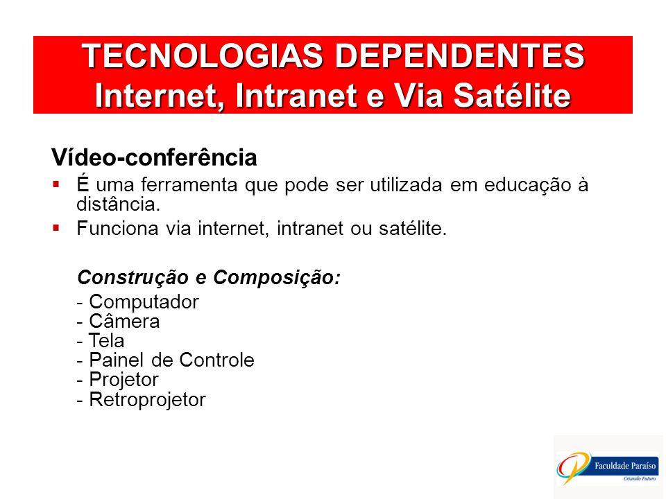 TECNOLOGIAS DEPENDENTES Internet, Intranet e Via Satélite Vídeo-conferência É uma ferramenta que pode ser utilizada em educação à distância. Funciona