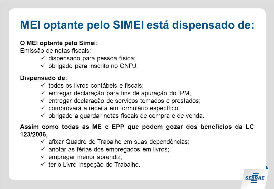 MEI optante pelo SIMEI está dispensado de: O MEI optante pelo Simei: Emissão de notas fiscais: dispensado para pessoa física; obrigado para inscrito no CNPJ.