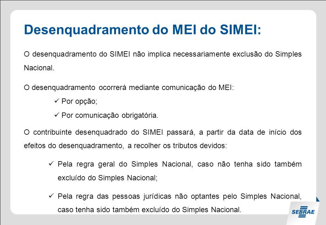 Desenquadramento do MEI do SIMEI: O desenquadramento do SIMEI não implica necessariamente exclusão do Simples Nacional.