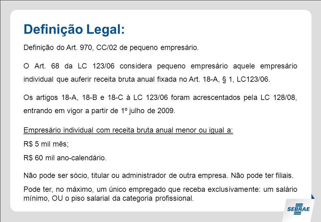 Definição Legal: Definição do Art.970, CC/02 de pequeno empresário.