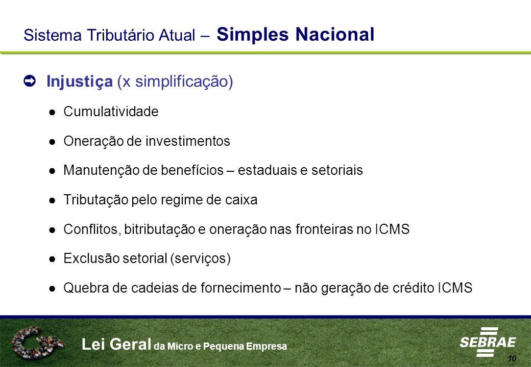 Lei Geral da Micro e Pequena Empresa 10 Injustiça (x simplificação) Cumulatividade Oneração de investimentos Manutenção de benefícios – estaduais e se