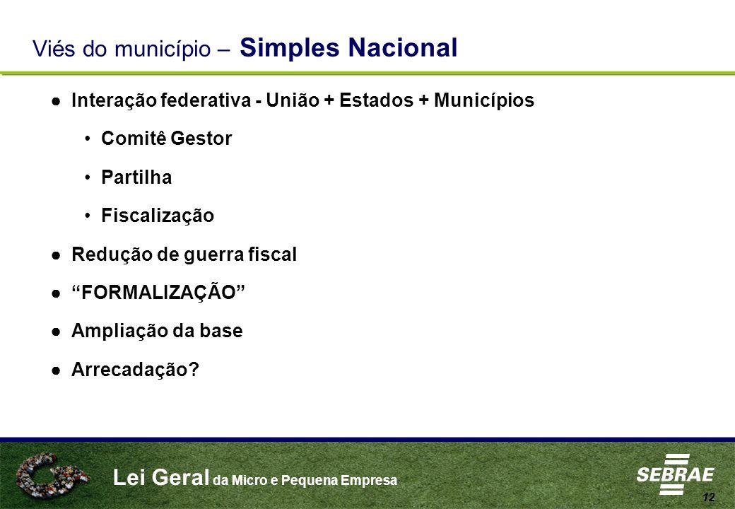 Lei Geral da Micro e Pequena Empresa 12 Viés do município – Simples Nacional Interação federativa - União + Estados + Municípios Comitê Gestor Partilh