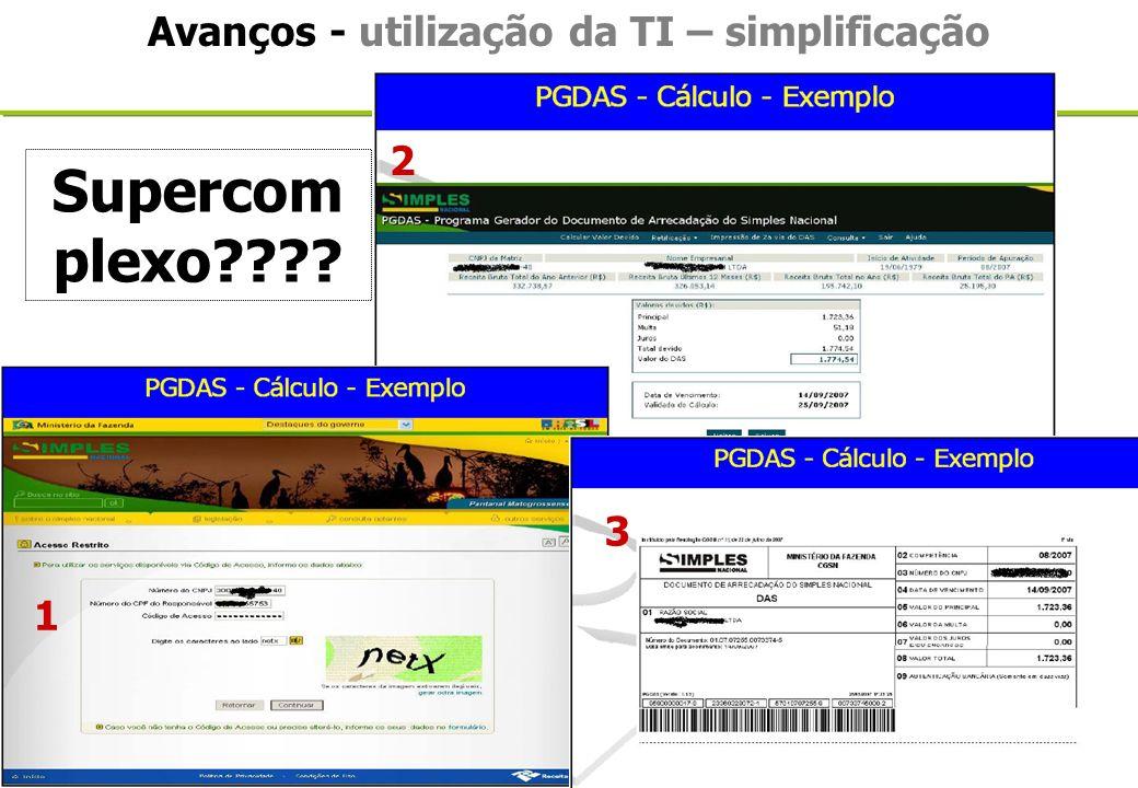 Lei Geral da Micro e Pequena Empresa Avanços - utilização da TI – simplificação 1 2 3 Supercom plexo????
