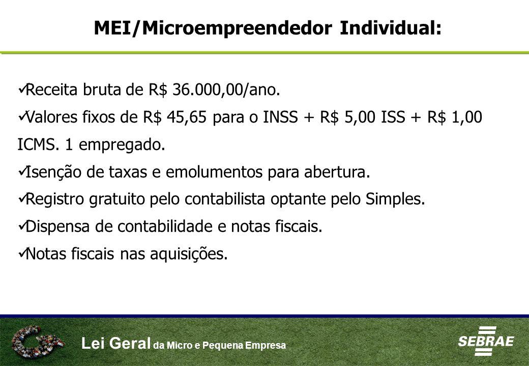 Receita bruta de R$ 36.000,00/ano. Valores fixos de R$ 45,65 para o INSS + R$ 5,00 ISS + R$ 1,00 ICMS. 1 empregado. Isenção de taxas e emolumentos par