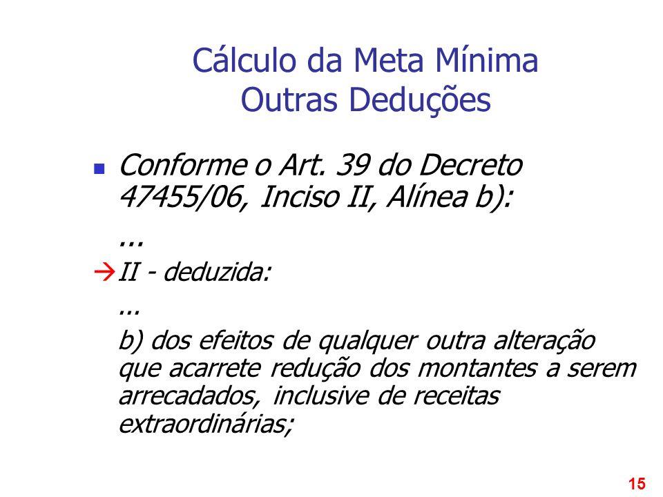 15 Cálculo da Meta Mínima Outras Deduções Conforme o Art. 39 do Decreto 47455/06, Inciso II, Alínea b):... II - deduzida:... b) dos efeitos de qualque