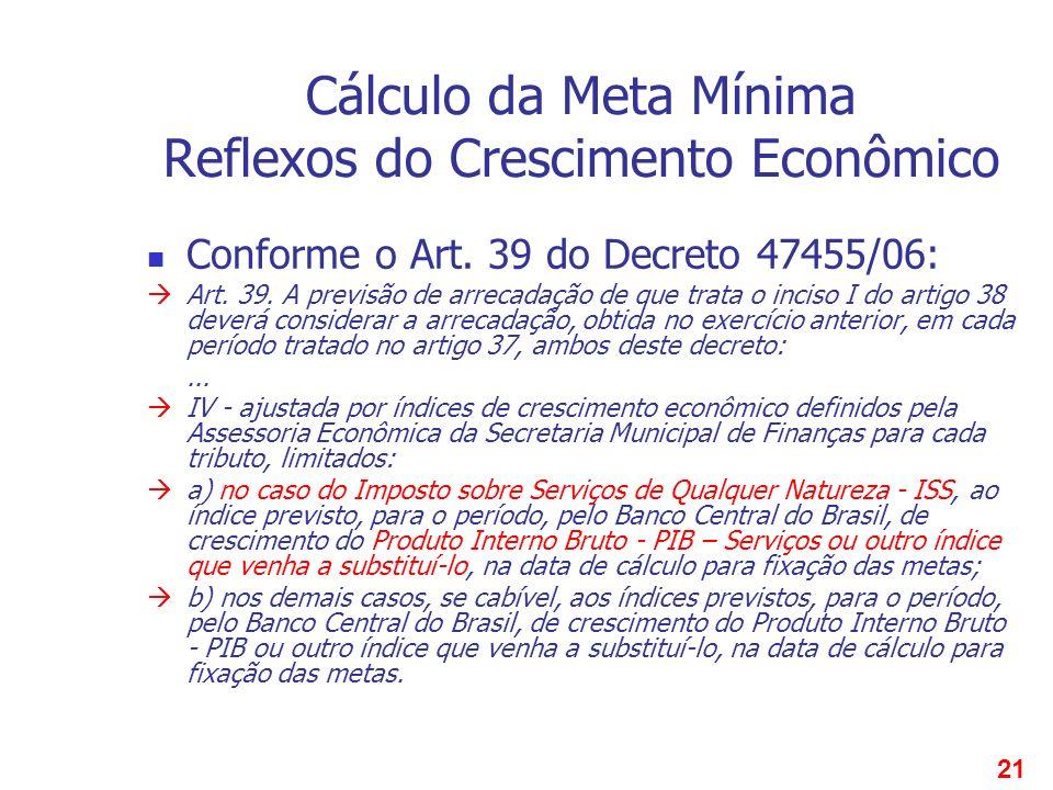 21 Cálculo da Meta Mínima Reflexos do Crescimento Econômico Conforme o Art. 39 do Decreto 47455/06: Art. 39. A previsão de arrecadação de que trata o