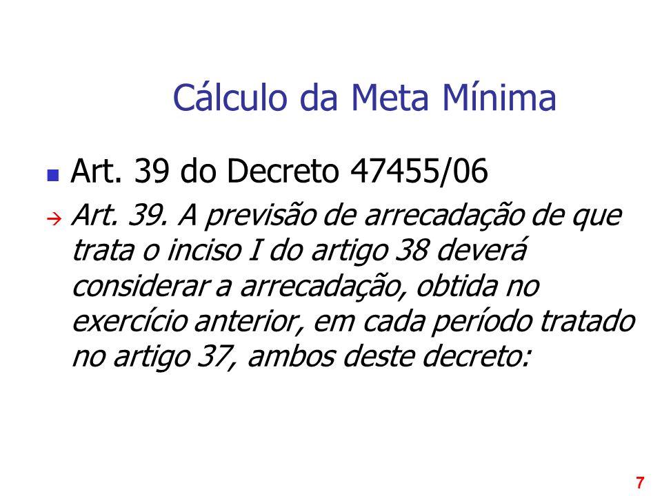 7 Cálculo da Meta Mínima Art. 39 do Decreto 47455/06 Art. 39. A previsão de arrecadação de que trata o inciso I do artigo 38 deverá considerar a arrec