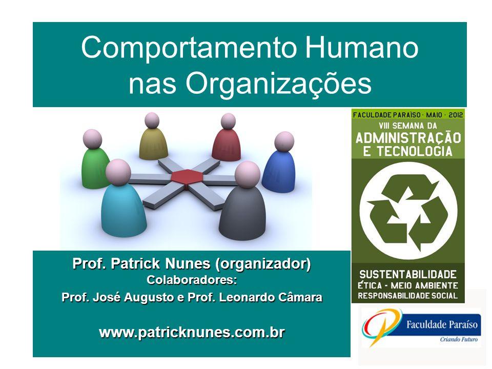 Comportamento Humano nas Organizações Prof. Patrick Nunes (organizador) Colaboradores: Prof. José Augusto e Prof. Leonardo Câmara www.patricknunes.com