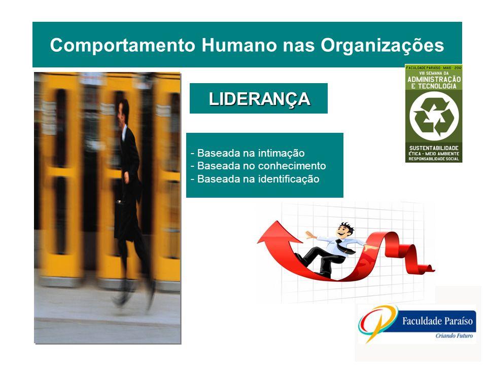 - Baseada na intimação - Baseada no conhecimento - Baseada na identificação LIDERANÇA Comportamento Humano nas Organizações