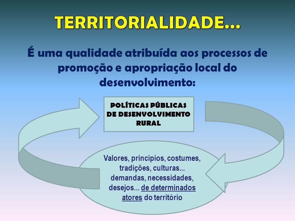 Valores, princípios, costumes, tradições, culturas... demandas, necessidades, desejos... de determinados atores do território POLÍTICAS PÚBLICAS DE DE