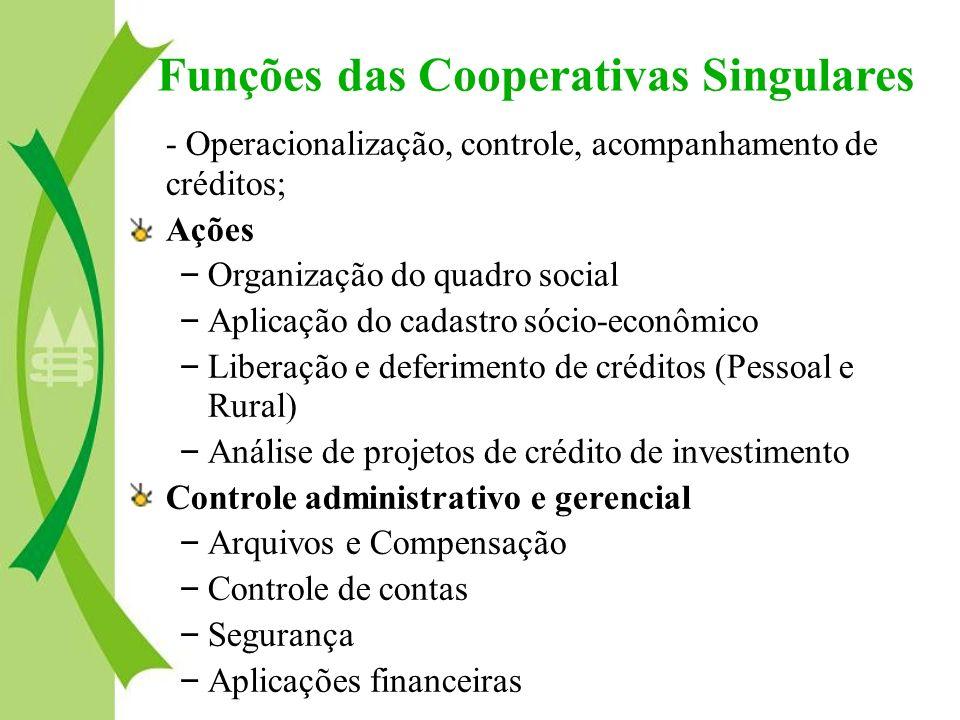 - Operacionalização, controle, acompanhamento de créditos; Ações – Organização do quadro social – Aplicação do cadastro sócio-econômico – Liberação e