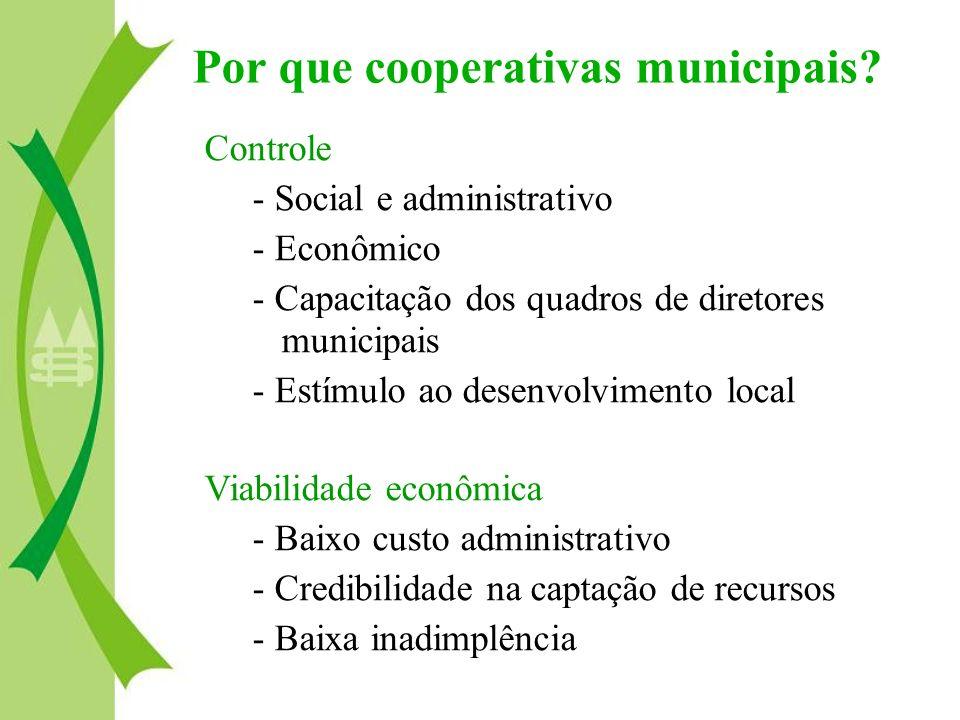 Controle - Social e administrativo - Econômico - Capacitação dos quadros de diretores municipais - Estímulo ao desenvolvimento local Viabilidade econô