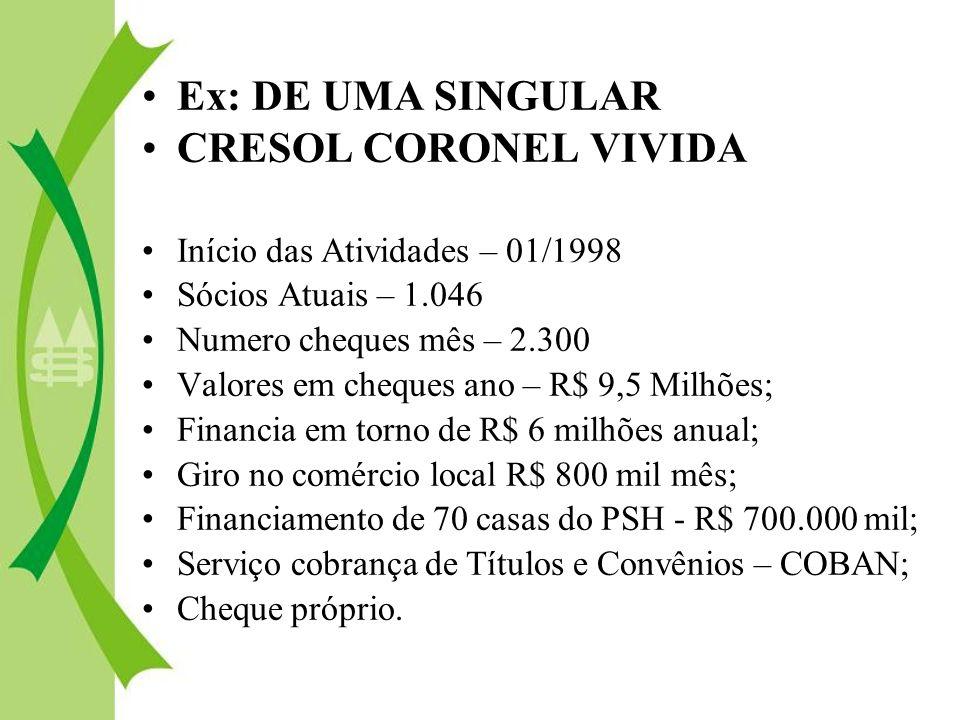 Ex: DE UMA SINGULAR CRESOL CORONEL VIVIDA Início das Atividades – 01/1998 Sócios Atuais – 1.046 Numero cheques mês – 2.300 Valores em cheques ano – R$