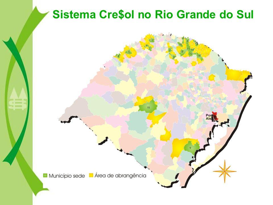 O Sistema Cre$ol hoje – 106 cooperativas Singulares na região Sul do Brasil – 70 mil associados e associadas – Abrangência em mais de 380 municípios da região Sul – Repasse de Pronaf Custeio 2005/2006 R$ 112 milhões – Repasse de Pronaf Investimento 2005/06 R$ 44,7 milhões – Patrimônio Líquido R$ 66 milhões – Depósitos à vista e a prazo R$ 85 milhões – Carteira de recursos próprios R$ 61,3 milhões