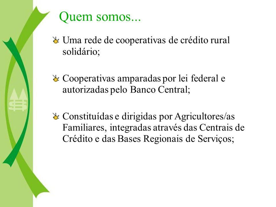 Uma rede de cooperativas de crédito rural solidário; Cooperativas amparadas por lei federal e autorizadas pelo Banco Central; Constituídas e dirigidas