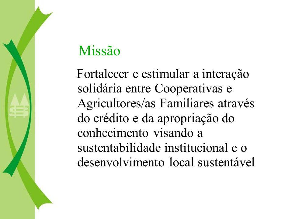 Missão Fortalecer e estimular a interação solidária entre Cooperativas e Agricultores/as Familiares através do crédito e da apropriação do conheciment
