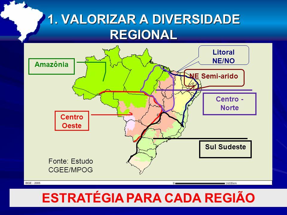 1. VALORIZAR A DIVERSIDADE REGIONAL NE Semi-arido Litoral NE/NO Centro Oeste Sul Sudeste Amazônia ESTRATÉGIA PARA CADA REGIÃO Centro - Norte Fonte: Es