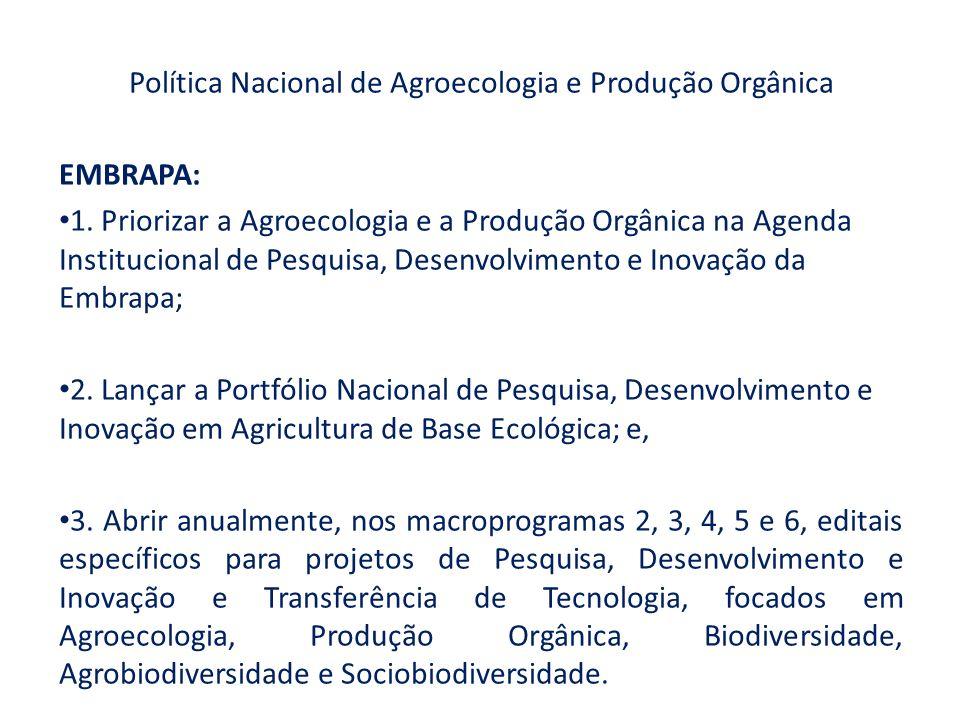 Política Nacional de Agroecologia e Produção Orgânica EMBRAPA: 1. Priorizar a Agroecologia e a Produção Orgânica na Agenda Institucional de Pesquisa,