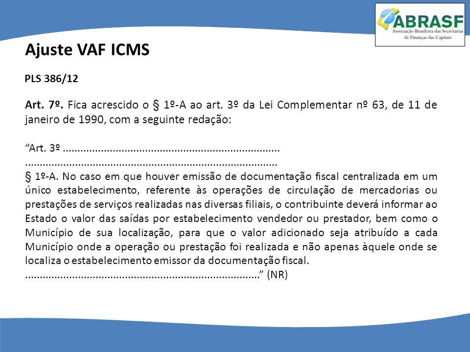 Ajuste VAF ICMS Art. 7º. Fica acrescido o § 1º-A ao art. 3º da Lei Complementar nº 63, de 11 de janeiro de 1990, com a seguinte redação: Art. 3º......