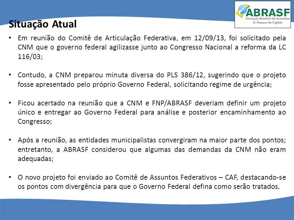 Em reunião do Comitê de Articulação Federativa, em 12/09/13, foi solicitado pela CNM que o governo federal agilizasse junto ao Congresso Nacional a re