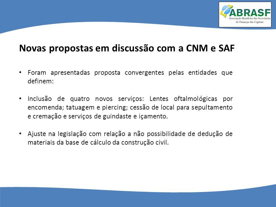 Novas propostas em discussão com a CNM e SAF Foram apresentadas proposta convergentes pelas entidades que definem: Inclusão de quatro novos serviços: