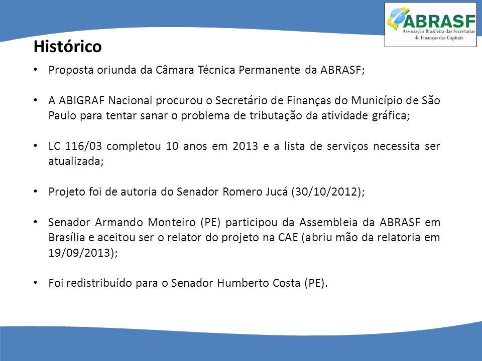 Histórico Proposta oriunda da Câmara Técnica Permanente da ABRASF; A ABIGRAF Nacional procurou o Secretário de Finanças do Município de São Paulo para
