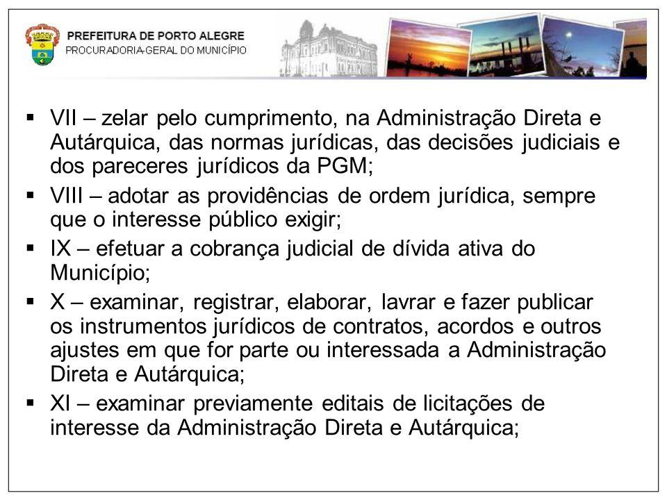 VII – zelar pelo cumprimento, na Administração Direta e Autárquica, das normas jurídicas, das decisões judiciais e dos pareceres jurídicos da PGM; VII