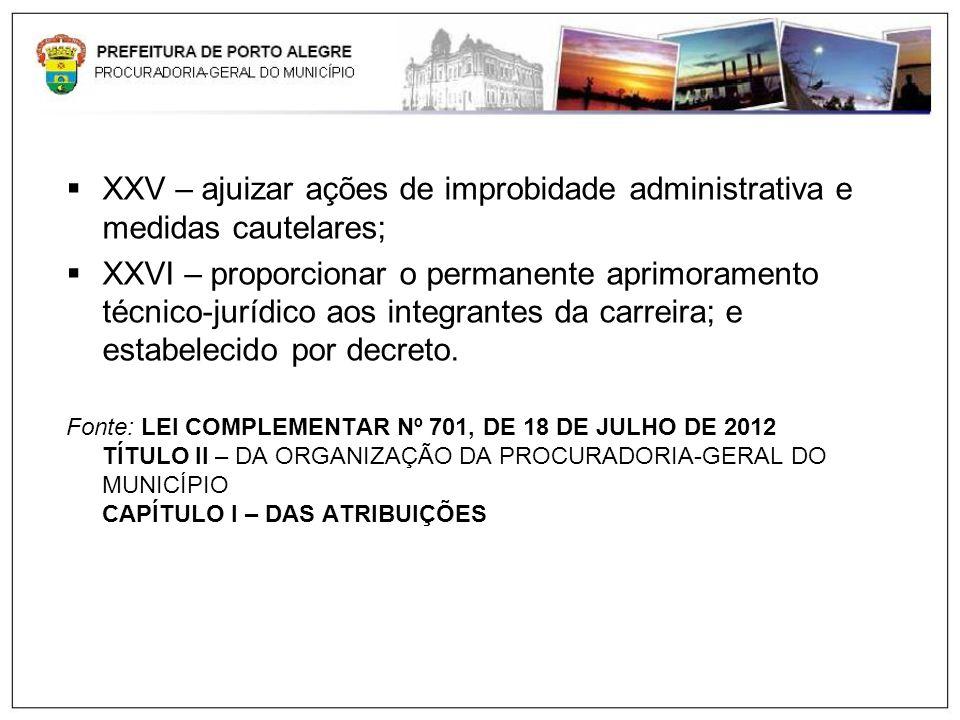 XXV – ajuizar ações de improbidade administrativa e medidas cautelares; XXVI – proporcionar o permanente aprimoramento técnico-jurídico aos integrante