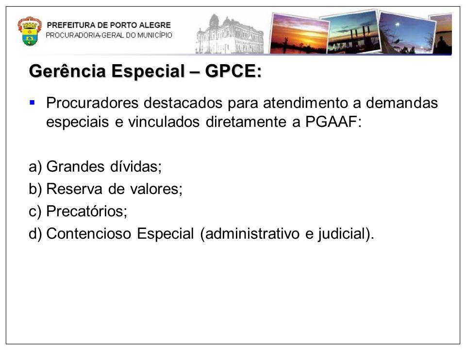 Gerência Especial – GPCE: Procuradores destacados para atendimento a demandas especiais e vinculados diretamente a PGAAF: a)Grandes dívidas; b)Reserva
