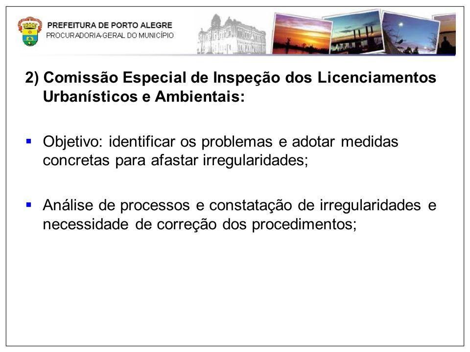 2) Comissão Especial de Inspeção dos Licenciamentos Urbanísticos e Ambientais: Objetivo: identificar os problemas e adotar medidas concretas para afas