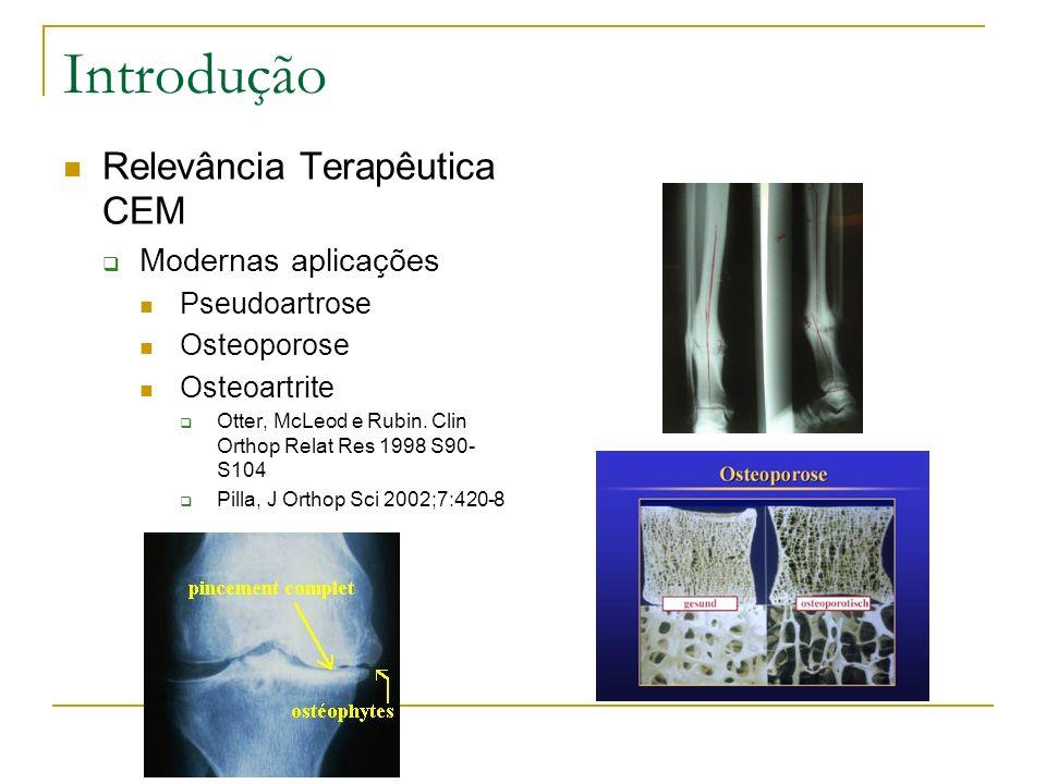 Introdução Relevância Terapêutica CEM Modernas aplicações Pseudoartrose Osteoporose Osteoartrite Otter, McLeod e Rubin. Clin Orthop Relat Res 1998 S90