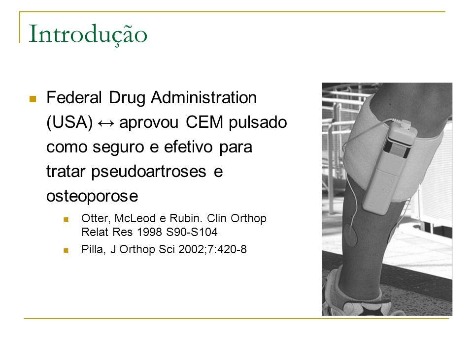 Introdução Federal Drug Administration (USA) aprovou CEM pulsado como seguro e efetivo para tratar pseudoartroses e osteoporose Otter, McLeod e Rubin.