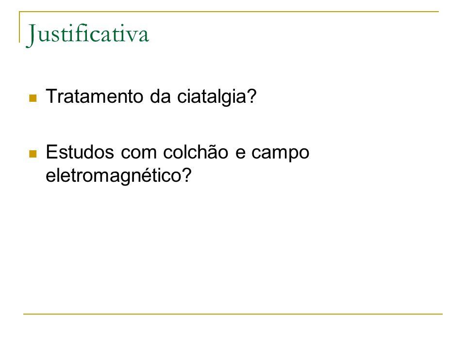 Justificativa Tratamento da ciatalgia? Estudos com colchão e campo eletromagnético?