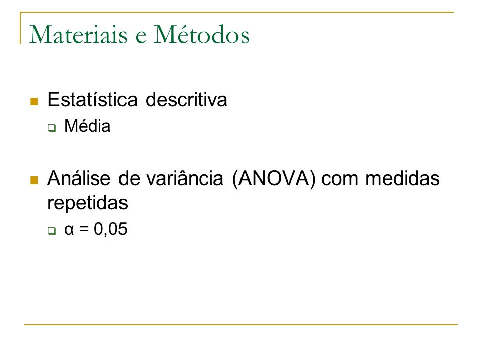 Materiais e Métodos Estatística descritiva Média Análise de variância (ANOVA) com medidas repetidas α = 0,05