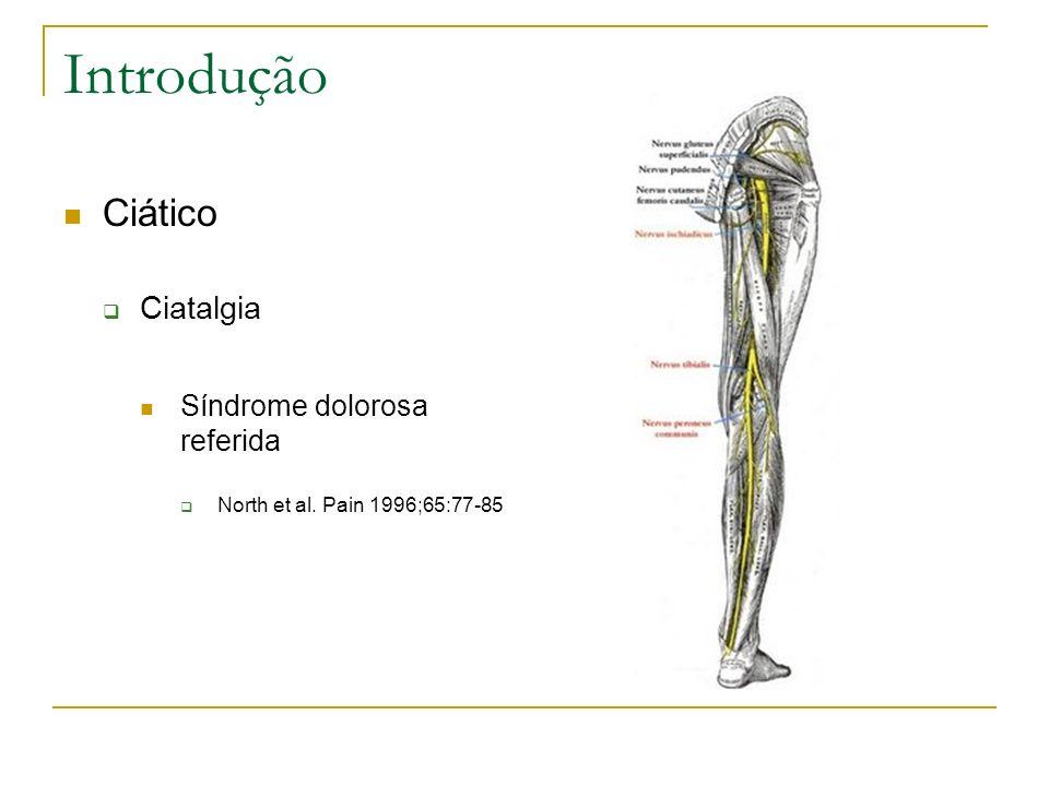 Introdução Ciático Ciatalgia Síndrome dolorosa referida North et al. Pain 1996;65:77-85