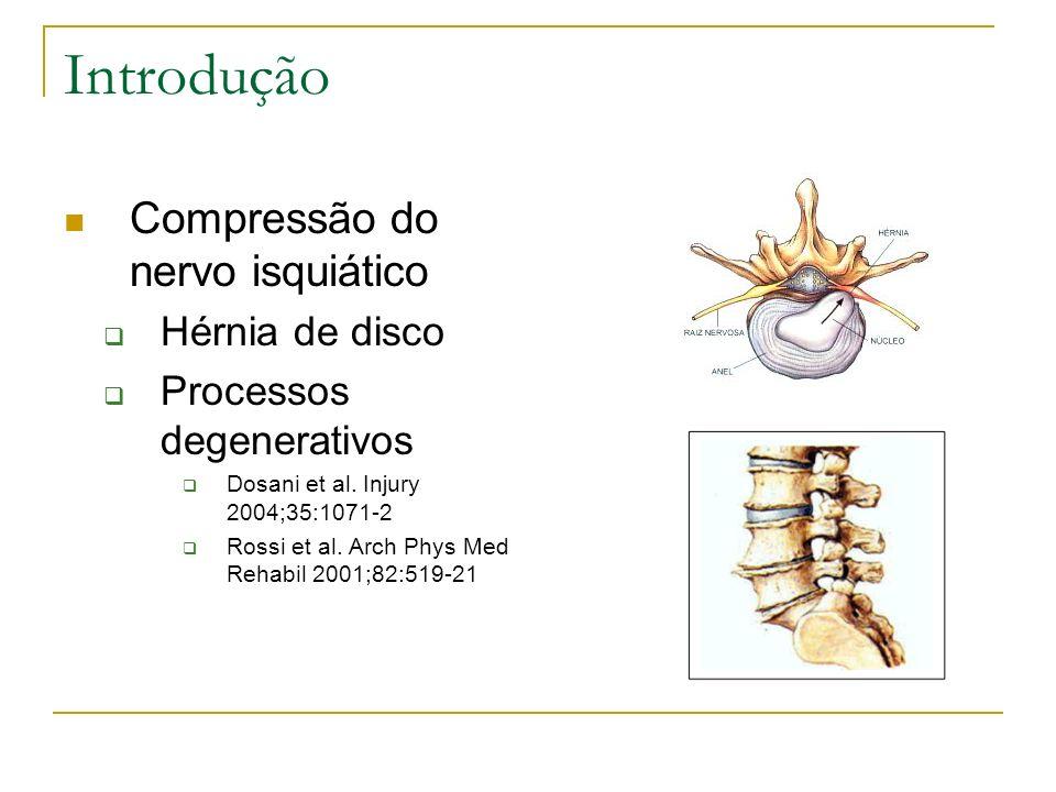 Introdução Compressão do nervo isquiático Hérnia de disco Processos degenerativos Dosani et al. Injury 2004;35:1071-2 Rossi et al. Arch Phys Med Rehab