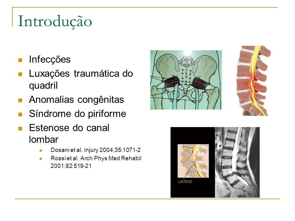 Introdução Infecções Luxações traumática do quadril Anomalias congênitas Síndrome do piriforme Estenose do canal lombar Dosani et al. Injury 2004;35:1